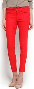 Coated Super Slim Jeans - style: skinny leg; pattern: plain; pocket detail: traditional 5 pocket; waist: mid/regular rise; predominant colour: true red; occasions: casual; length: ankle length; fibres: cotton - stretch; texture group: denim; trends: fluorescent; pattern type: fabric