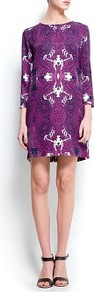 Paisley Print Dress - style: shift; pattern: paisley; secondary colour: ivory; predominant colour: purple; occasions: casual, evening, occasion; length: just above the knee; fit: straight cut; fibres: viscose/rayon - 100%; neckline: crew; sleeve length: 3/4 length; sleeve style: standard; texture group: silky - light; trends: statement prints, glamorous day shifts; pattern type: fabric; pattern size: big & busy