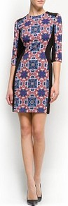 Printed Panels Dress - style: shift; length: mid thigh; fit: tailored/fitted; waist detail: fitted waist; shoulder detail: contrast pattern/fabric at shoulder; secondary colour: black; occasions: evening, work, occasion; fibres: polyester/polyamide - stretch; neckline: crew; hip detail: contrast fabric/print detail at hip; predominant colour: multicoloured; sleeve length: 3/4 length; sleeve style: standard; trends: statement prints, modern geometrics; pattern type: fabric; pattern size: big & busy; pattern: patterned/print; texture group: other - stretchy