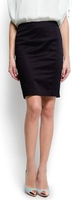 Straight Cut Skirt - pattern: plain; style: pencil; fit: tailored/fitted; waist: mid/regular rise; predominant colour: black; occasions: evening, work; length: just above the knee; fibres: cotton - mix; texture group: cotton feel fabrics; pattern type: fabric