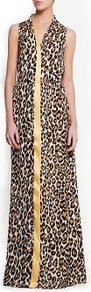 Animal Print Maxi Dress - neckline: v-neck; sleeve style: sleeveless; style: maxi dress; waist detail: elasticated waist; predominant colour: camel; secondary colour: black; occasions: evening, occasion, holiday; length: floor length; fit: body skimming; fibres: polyester/polyamide - 100%; sleeve length: sleeveless; pattern type: fabric; pattern size: big & busy; pattern: animal print; texture group: other - light to midweight
