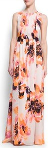 Floral Print Gown - sleeve style: sleeveless; style: maxi dress; bust detail: ruching/gathering/draping/layers/pintuck pleats at bust; secondary colour: ivory; predominant colour: bright orange; occasions: evening, occasion; length: floor length; fit: body skimming; fibres: polyester/polyamide - 100%; neckline: crew; sleeve length: sleeveless; texture group: sheer fabrics/chiffon/organza etc.; trends: high impact florals; pattern type: fabric; pattern size: big & busy; pattern: florals