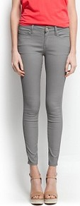 Coated Super Slim Jeans - style: skinny leg; pattern: plain; pocket detail: traditional 5 pocket; waist: mid/regular rise; predominant colour: mid grey; occasions: casual, evening, holiday; length: ankle length; fibres: cotton - stretch; pattern type: fabric; texture group: other - light to midweight
