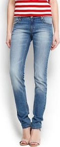 Super Slim Jeans - style: skinny leg; length: standard; pattern: plain; pocket detail: traditional 5 pocket; waist: mid/regular rise; predominant colour: denim; occasions: casual; fibres: cotton - stretch; jeans detail: shading down centre of thigh, washed/faded; texture group: denim; pattern type: fabric