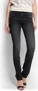 Slim Jeans - length: standard; pattern: plain; pocket detail: traditional 5 pocket; style: slim leg; waist: mid/regular rise; predominant colour: black; occasions: casual, evening; fibres: cotton - stretch; jeans detail: dark wash, washed/faded; texture group: denim; pattern type: fabric