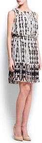 Pleated Printed Dress - neckline: round neck; fit: fitted at waist; sleeve style: sleeveless; style: blouson; predominant colour: nude; secondary colour: black; occasions: casual, evening, occasion; length: just above the knee; fibres: polyester/polyamide - 100%; sleeve length: sleeveless; texture group: sheer fabrics/chiffon/organza etc.; trends: statement prints; pattern type: fabric; pattern size: big & busy; pattern: patterned/print