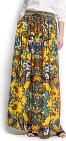 Scarf Print Long Skirt - fit: loose/voluminous; waist detail: belted waist/tie at waist/drawstring; waist: mid/regular rise; secondary colour: royal blue; predominant colour: yellow; occasions: casual, holiday; length: floor length; style: maxi skirt; fibres: polyester/polyamide - 100%; hip detail: ruching/gathering at hip; pattern type: fabric; pattern size: small & busy; pattern: patterned/print; texture group: jersey - stretchy/drapey