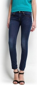 Super Slim Jeans - style: skinny leg; length: standard; pattern: plain; pocket detail: traditional 5 pocket; waist: mid/regular rise; predominant colour: navy; occasions: casual, evening, work, holiday; fibres: cotton - stretch; jeans detail: shading down centre of thigh; texture group: denim; pattern type: fabric