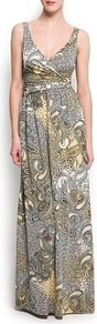 Mixed Prints Gown - neckline: low v-neck; sleeve style: standard vest straps/shoulder straps; style: maxi dress; waist detail: fitted waist; pattern: paisley; predominant colour: mid grey; occasions: evening, occasion, holiday; length: floor length; fit: fitted at waist & bust; fibres: polyester/polyamide - stretch; hip detail: soft pleats at hip/draping at hip/flared at hip; sleeve length: sleeveless; pattern type: fabric; pattern size: big & busy; texture group: jersey - stretchy/drapey