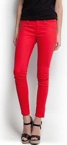 Super Slim Trousers - pattern: plain; pocket detail: traditional 5 pocket; waist: mid/regular rise; predominant colour: true red; occasions: casual, evening, holiday; length: ankle length; fibres: cotton - stretch; texture group: denim; fit: skinny/tight leg; pattern type: fabric; style: standard