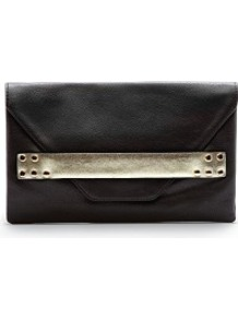 Metallic Band Clutch - predominant colour: black; occasions: evening, occasion; type of pattern: standard; style: clutch; length: hand carry; size: small; material: faux leather; pattern: plain; finish: plain