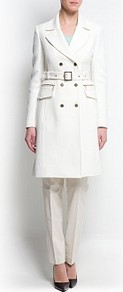 Military Style Coat - pattern: plain; style: double breasted; length: on the knee; hip detail: front pockets at hip; collar: standard lapel/rever collar; predominant colour: white; occasions: evening, work, occasion; fit: tailored/fitted; fibres: cotton - stretch; waist detail: belted waist/tie at waist/drawstring; sleeve length: long sleeve; sleeve style: standard; collar break: medium; pattern type: fabric; texture group: other - light to midweight