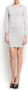Metallic Sweater Dress - style: jumper dress; length: mid thigh; neckline: round neck; fit: tight; pattern: plain; back detail: low cut/open back; predominant colour: silver; occasions: casual, evening; sleeve length: long sleeve; sleeve style: standard; texture group: knits/crochet; trends: metallics; pattern type: knitted - other; fibres: viscose/rayon - mix