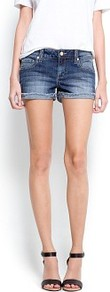Frayed Denim Shorts - pattern: plain; style: shorts; pocket detail: traditional 5 pocket; length: short shorts; waist: mid/regular rise; predominant colour: denim; occasions: casual, holiday; fibres: cotton - stretch; jeans & bottoms detail: turn ups; texture group: denim; fit: slim leg; pattern type: fabric