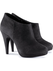 Boots - predominant colour: black; occasions: casual, evening; material: suede; heel height: high; heel: platform; toe: round toe; boot length: shoe boot; style: standard; finish: plain; pattern: plain