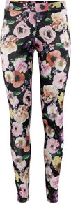 Leggings - length: standard; style: leggings; waist detail: elasticated waist; waist: mid/regular rise; predominant colour: black; occasions: casual, evening; fibres: polyester/polyamide - stretch; texture group: jersey - clingy; trends: high impact florals; fit: skinny/tight leg; pattern type: fabric; pattern size: big &amp; busy; pattern: florals