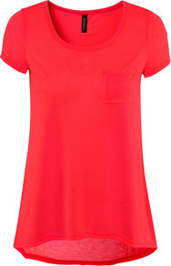 Top - neckline: round neck; pattern: plain; length: below the bottom; style: t-shirt; predominant colour: coral; occasions: casual; fibres: polyester/polyamide - 100%; fit: loose; back detail: longer hem at back than at front; sleeve length: short sleeve; sleeve style: standard; pattern type: fabric; texture group: jersey - stretchy/drapey