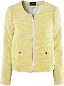 Jacket - collar: round collar/collarless; fit: loose; hip detail: front pockets at hip, fitted at hip, added detail/embellishment at hip, ruching/gathering at hip; pattern: herringbone/tweed; style: bomber; predominant colour: primrose yellow; occasions: casual, evening, work, holiday; length: standard; fibres: cotton - mix; bust detail: contrast pattern/fabric/detail at bust; sleeve length: long sleeve; sleeve style: standard; trends: metallics; collar break: high; pattern type: fabric; pattern size: small &amp; light; texture group: woven light midweight