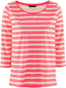 Top - neckline: round neck; pattern: horizontal stripes, striped; style: t-shirt; predominant colour: pink; occasions: casual, work; length: standard; fibres: cotton - 100%; fit: straight cut; sleeve length: 3/4 length; sleeve style: standard; pattern type: fabric; pattern size: small &amp; busy; texture group: jersey - stretchy/drapey