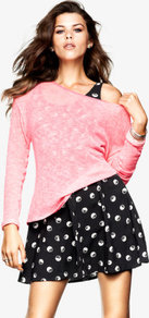 Jumper - neckline: round neck; style: standard; predominant colour: pink; occasions: casual; length: standard; fibres: polyester/polyamide - stretch; fit: slim fit; sleeve length: long sleeve; sleeve style: standard; texture group: knits/crochet; pattern type: knitted - other