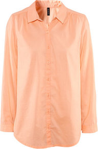 Blouse - neckline: shirt collar/peter pan/zip with opening; pattern: plain; length: below the bottom; style: blouse; predominant colour: coral; occasions: casual, work; fibres: cotton - 100%; fit: straight cut; sleeve length: long sleeve; sleeve style: standard; pattern type: fabric; pattern size: standard; texture group: other - light to midweight