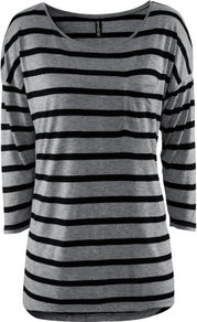 Top - pattern: horizontal stripes, striped; style: t-shirt; bust detail: pocket detail at bust; predominant colour: mid grey; occasions: casual, work; length: standard; fibres: polyester/polyamide - 100%; fit: body skimming; neckline: crew; sleeve length: 3/4 length; sleeve style: standard; trends: striking stripes; pattern type: fabric; pattern size: small &amp; busy; texture group: jersey - stretchy/drapey
