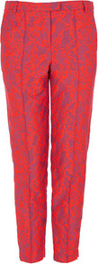 Fluro Lace Jacquard Trousers - pocket detail: small back pockets, pockets at the sides; waist: mid/regular rise; predominant colour: hot pink; occasions: casual, evening, work, occasion; length: ankle length; fibres: cotton - mix; texture group: lace; trends: fluorescent; fit: slim leg; pattern type: fabric; pattern size: small &amp; light; pattern: patterned/print; style: standard