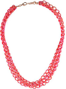 City Lights Multirow Necklace - predominant colour: hot pink; occasions: casual, evening, work; style: multistrand; length: short; size: standard; material: chain/metal; trends: fluorescent, metallics; finish: metallic; embellishment: chain/metal