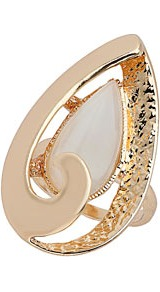 Oval Swirl Catseye Ring - predominant colour: gold; occasions: casual, evening, work, occasion; style: cocktail; size: large/oversized; material: chain/metal; trends: metallics; finish: metallic