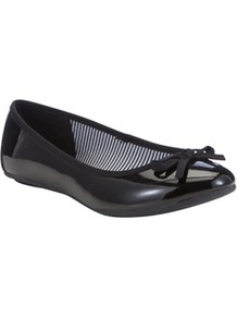 Patent Ballet Pumps - predominant colour: black; occasions: casual, evening, work; material: faux leather; heel height: flat; toe: round toe; style: ballerinas / pumps; finish: patent; pattern: plain; embellishment: bow