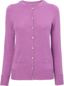 Violet Stretch Cardigan - neckline: round neck; pattern: plain; predominant colour: lilac; occasions: casual, work; length: standard; style: standard; fibres: nylon - mix; fit: standard fit; sleeve length: long sleeve; sleeve style: standard; texture group: knits/crochet; pattern type: knitted - fine stitch