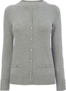 Mid Grey Marl Stretch Cardigan - neckline: round neck; pattern: plain; hip detail: fitted at hip; predominant colour: light grey; occasions: casual, work; length: standard; style: standard; fibres: polyester/polyamide - 100%; fit: standard fit; sleeve length: long sleeve; sleeve style: standard; texture group: knits/crochet; pattern type: knitted - fine stitch