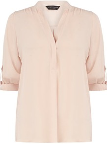 Blush Roll Sleeve Shirt - neckline: v-neck; pattern: plain; style: shirt; predominant colour: blush; occasions: casual, work, holiday; length: standard; fibres: polyester/polyamide - 100%; fit: straight cut; sleeve length: 3/4 length; sleeve style: standard; texture group: sheer fabrics/chiffon/organza etc.; pattern type: fabric