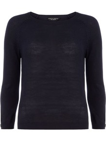 Navy Stitchy Raglan Jumper - neckline: round neck; pattern: plain; style: standard; predominant colour: navy; occasions: casual, work; length: standard; fibres: acrylic - 100%; fit: slim fit; sleeve length: 3/4 length; sleeve style: standard; texture group: knits/crochet; pattern type: knitted - other
