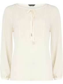 Ivory Bib Front Blouse - neckline: round neck; pattern: plain; bust detail: added detail/embellishment at bust; sleeve style: balloon; style: blouse; hip detail: fitted at hip; predominant colour: ivory; occasions: casual, evening, work; length: standard; fibres: polyester/polyamide - 100%; fit: body skimming; sleeve length: long sleeve; texture group: sheer fabrics/chiffon/organza etc.; pattern type: fabric; pattern size: standard