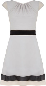 Grey Colour Block Circle Dress - style: shift; length: mid thigh; neckline: round neck; sleeve style: capped; bust detail: ruching/gathering/draping/layers/pintuck pleats at bust; predominant colour: light grey; occasions: casual, evening, work; fit: fitted at waist & bust; fibres: polyester/polyamide - 100%; hip detail: soft pleats at hip/draping at hip/flared at hip; waist detail: narrow waistband; sleeve length: short sleeve; trends: glamorous day shifts; pattern type: fabric; pattern size: small & light; pattern: colourblock; texture group: other - light to midweight