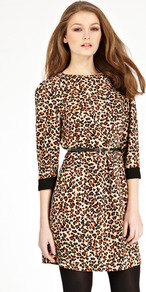 Block Leopard Dress - style: shift; length: mid thigh; fit: fitted at waist; waist detail: belted waist/tie at waist/drawstring; predominant colour: chocolate brown; secondary colour: camel; occasions: casual, evening; fibres: polyester/polyamide - 100%; neckline: crew; sleeve length: 3/4 length; sleeve style: standard; pattern type: fabric; pattern size: small & busy; pattern: animal print; texture group: jersey - stretchy/drapey