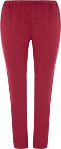 Red Jeggings - length: standard; pattern: plain; style: jeggings; pocket detail: traditional 5 pocket; waist: mid/regular rise; predominant colour: true red; occasions: casual; fibres: cotton - mix; texture group: denim; pattern type: fabric