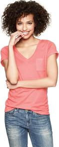 Essential V Neck Pocket T - neckline: v-neck; pattern: plain; style: t-shirt; bust detail: pocket detail at bust; predominant colour: coral; occasions: casual, work; length: standard; fibres: cotton - 100%; fit: loose; sleeve length: short sleeve; sleeve style: standard; texture group: cotton feel fabrics; pattern type: fabric; pattern size: standard