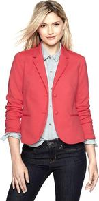 Ponte Two Button Blazer - pattern: plain; style: single breasted blazer; collar: standard lapel/rever collar; predominant colour: pink; occasions: casual, evening, work; length: standard; fit: tailored/fitted; fibres: polyester/polyamide - mix; sleeve length: long sleeve; sleeve style: standard; texture group: structured shiny - satin/tafetta/silk etc.; collar break: medium; pattern type: fabric; pattern size: standard