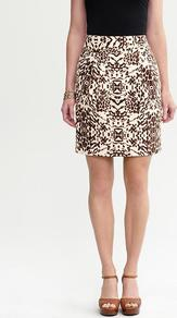 Heritage Safari Print Skirt - style: straight; fit: tailored/fitted; waist: high rise; hip detail: fitted at hip; predominant colour: chocolate brown; occasions: casual, evening, work; length: just above the knee; fibres: linen - mix; trends: statement prints; pattern type: fabric; pattern size: big &amp; busy; pattern: patterned/print; texture group: other - light to midweight
