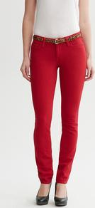 Red Skinny Jean - style: skinny leg; length: standard; pattern: plain; waist: low rise; pocket detail: traditional 5 pocket; predominant colour: true red; occasions: casual; fibres: cotton - stretch; jeans detail: dark wash; texture group: denim; pattern type: fabric