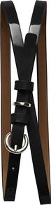 Patent Skinny Belt - predominant colour: black; occasions: casual, evening, work; type of pattern: standard; style: classic; size: skinny; worn on: waist; material: faux leather; pattern: plain; finish: patent