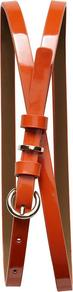 Patent Skinny Belt - predominant colour: bright orange; occasions: casual, work; style: classic; size: skinny; worn on: hips; material: faux leather; pattern: plain; finish: patent