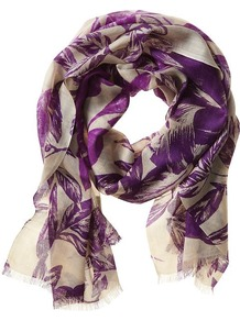 Julia Floral Scarf - predominant colour: purple; occasions: casual, work; type of pattern: standard; style: regular; size: standard; material: silk; embellishment: fringing; pattern: florals; trends: high impact florals