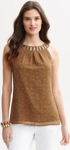 Heritage Embellished Snake Print Tank - neckline: round neck; pattern: plain; sleeve style: sleeveless; predominant colour: tan; occasions: casual, evening, work; length: standard; style: top; fibres: polyester/polyamide - 100%; fit: straight cut; back detail: keyhole/peephole detail at back; sleeve length: sleeveless; pattern type: fabric; pattern size: small & busy; texture group: other - light to midweight; embellishment: beading