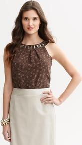 Heritage Embellished Snake Print Tank - neckline: round neck; pattern: plain; sleeve style: sleeveless; predominant colour: chocolate brown; occasions: casual, evening, work; length: standard; style: top; fibres: polyester/polyamide - 100%; fit: straight cut; back detail: keyhole/peephole detail at back; sleeve length: sleeveless; pattern type: fabric; pattern size: small & busy; texture group: other - light to midweight; embellishment: beading