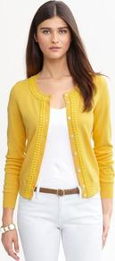 Double Bead Cardigan - neckline: round neck; hip detail: fitted at hip; bust detail: buttons at bust (in middle at breastbone)/zip detail at bust; predominant colour: primrose yellow; occasions: casual; length: standard; style: standard; fibres: cotton - 100%; fit: standard fit; sleeve length: long sleeve; sleeve style: standard; texture group: knits/crochet; pattern type: knitted - fine stitch; embellishment: beading