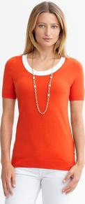 Piped Short Sleeve Pullover - neckline: scoop neck; pattern: plain; style: standard; hip detail: fitted at hip; predominant colour: bright orange; occasions: casual, work; length: standard; fibres: cotton - mix; fit: slim fit; bust detail: contrast pattern/fabric/detail at bust; sleeve length: short sleeve; sleeve style: standard; texture group: knits/crochet; pattern type: knitted - fine stitch; pattern size: small &amp; light