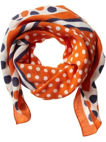 Barbara Dot Print Scarf - predominant colour: bright orange; occasions: casual, work, occasion; type of pattern: standard; style: square; material: fabric; pattern: polka dot; trends: modern geometrics; size: small